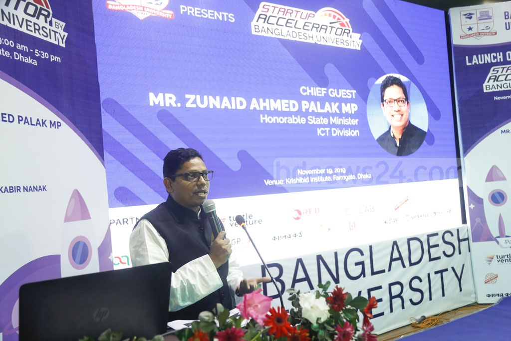 State Minister for Information and Communication Technology Zunaid Ahmed Palak speaks at an event on youth entrepreneurship, organised by the Bangladesh University in Dhaka on Tuesday. Photo: Mahmud Zaman Ovi