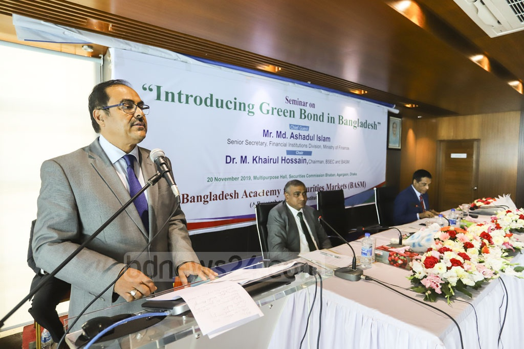 Financial Institutions Secretary Md Ashadul Islam speaking at a seminar organised by the Bangladesh Securities and Exchange Commission on Wednesday to launch a green bond market in Bangladesh. Photo: Asif Mahmud Ove