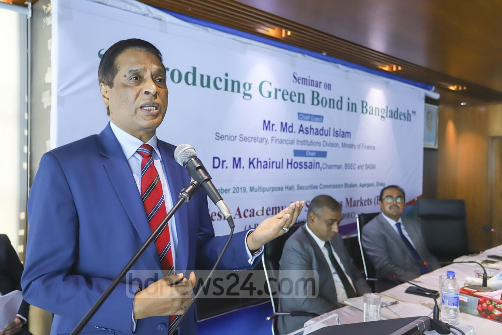 M Khairul Hossain, chairman of Bangladesh Securities and Exchange Commission, speaking at a seminar organised by the securities regulator on Wednesday to launch a green bond market in the country. Photo: Asif Mahmud Ove