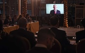 Tony Blair, the former British prime minister, speaks via video link to the founding conference of the Arab Council For Regional Integration, at a hotel in London, Nov 20, 2019. The group has brought together Arab journalists, artists, politicians, diplomats, Quranic scholars and others who share a view that isolating and demonising Israel has cost Arab nations billions in trade. The New York Times