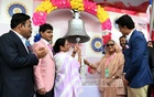 Prime Minister Sheikh Hasina and West Bengal Chief Minister Mamata Banerjee inaugurating the first day-night Test between India and Bangladesh by ringing a bell at the Eden Gardens in Kolkata on Friday. Photo: PID