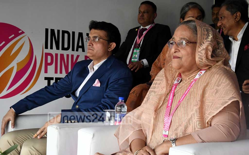 Prime Minister Sheikh Hasina and Indian cricket board President Sourav Ganguly watching the first day-night Test between India and Bangladesh at the Eden Gardens in Kolkata on Friday. Photo: PID