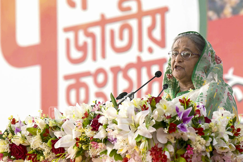 Prime Minister Sheikh Hasina, the president of the Awami League, attends the inauguration ceremony of the 7th National Congress of Jubo League at Dhaka's Suhrawardy Udyan on Saturday. Photo: PID