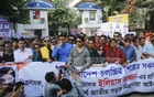 Members of 18 BFDC-based film associations formed a human chain in front of the state-run corporation at the capital's Tejgaon on Monday demanding implementation of new road transport law and protesting against road safety campaigner Ilias Kanchan's humiliation by the transport workers. Photo: Mahmud Zaman Ovi