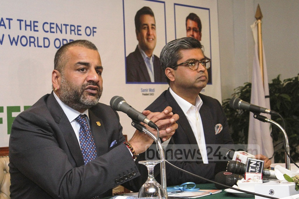 CACCI President Samir Modi briefing the media at the Pan Pacific Sonargaon hotel in Dhaka on Monday on the 33rd CACCI Conference.