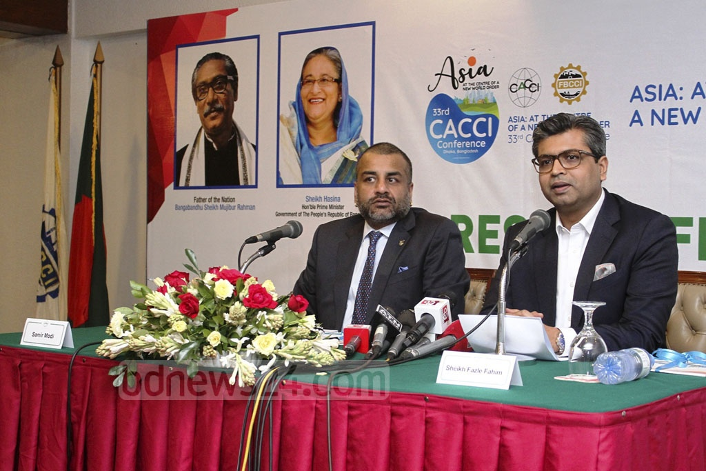 FBCCI President Sheikh Fazle Fahim briefing the media at the Pan Pacific Sonargaon hotel in Dhaka on Monday on the 33rd CACCI Conference.