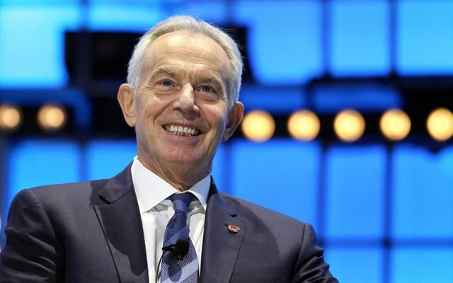FILE PHOTO: Britain's former Prime Minister Tony Blair speaks at the Web Summit, in Lisbon, Portugal, Nov 6, 2019. REUTERS