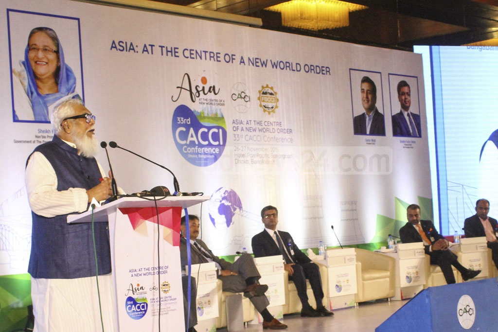 Prime Minister's Private Industries and Investment Affairs Advisor Salman F Rahman speaks during the launch of the 33rd conference organised by the Confederation of Asia-Pacific Chambers of Commerce and Industry or CACCI at the Pan Pacific Sonargaon hotel in Dhaka on Tuesday.