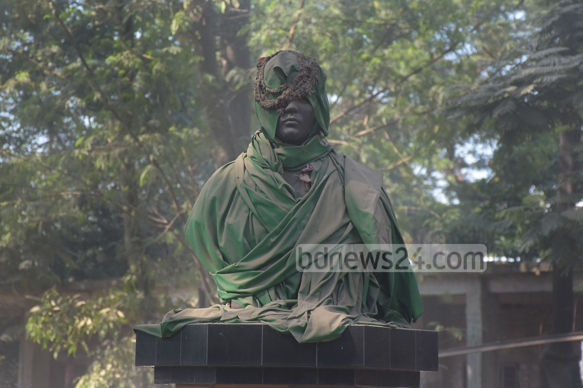 The bronze sculpture of Pritilata Waddedar, an anti-British martyr, is covered with cloth. Photo: Suman Babu