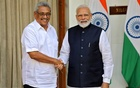 Sri Lanka's President Gotabaya Rajapaksa and India's Prime Minister Narendra Modi shake their hands during a photo opportunity ahead of their meeting at Hyderabad House in New Delhi, India, Nov 29, 2019. REUTERS