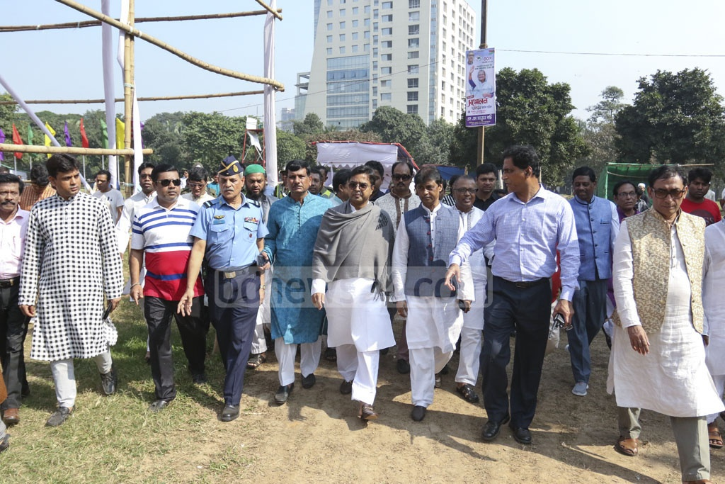 DSCC Mayor Mohammad Sayeed Khokan visits the capital's Suhrawardy Udyan on Friday to inspect preparations for the tri-annual conference of ruling Awami league's Dhaka north and south units.