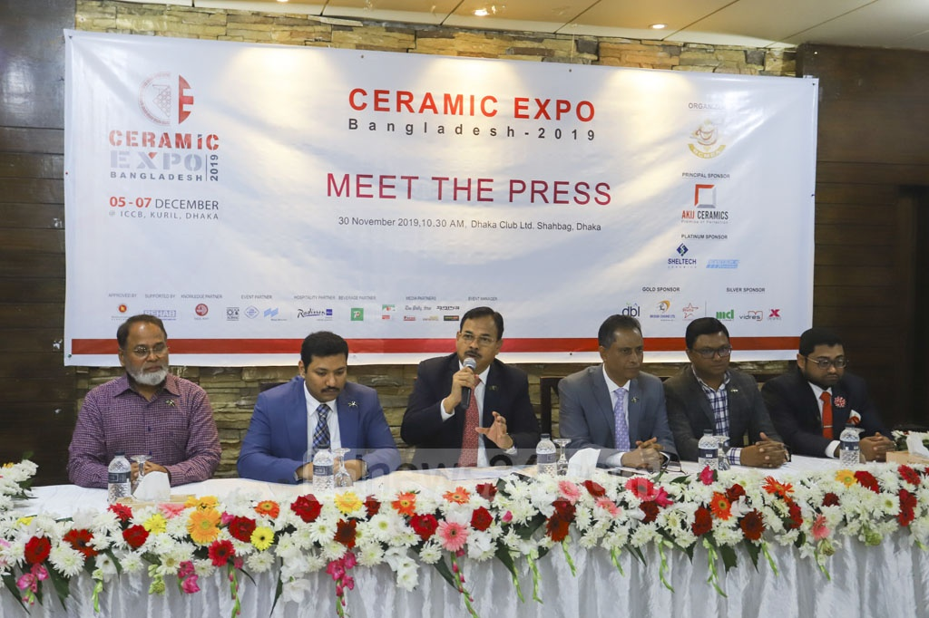Md Shirajul Islam Mollah, president of Bangladesh Ceramic Manufacturers and Exporters Association, briefs the media at the Dhaka Club on Saturday about Ceramic Expo Bangladesh 2019 scheduled to be held from Dec 5 to 7 at the International Convention City Bashundhara. Photo: Asif Mahmud Ove