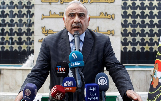 FILE PHOTO: Iraqi Prime Minister Adel Abdul Mahdi speaks during a symbolic funeral ceremony of Major General Ali al-Lami, who commands the Iraqi Federal Police's Fourth Division, who was killed in Salahuddin, in Baghdad, Iraq October 23, 2019. REUTERS