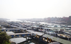 A vessel docked at Dhaka's Sadarghat launch terminal amid an ongoing strike enforced by water transport workers on Saturday.