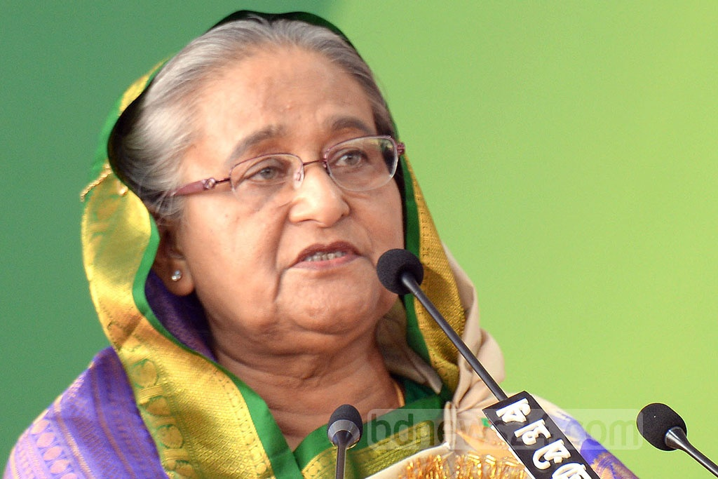 Prime Minister Sheikh Hasina addresses the council of the Awami League's Dhaka North and South units at the Suhrawardy Udyan in the capital on Saturday.