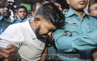 Jabale Nur Paribahan bus driver Jubayer Sumon crying as police escorting him from the court to jail in Dhaka on Sunday after he was handed life imprisonment for the deaths of two college students in a road crash that triggered widespread protests. Photo: Asif Mahmud Ove