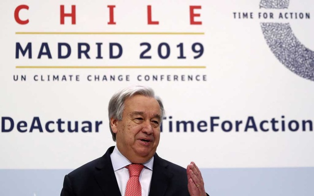 UN Secretary-General Antonio Guterres speaks during a news conference on the eve of the UN climate summit (COP25) in Madrid, Spain, Dec 1, 2019. Reuters