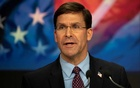 FILE PHOTO: US Defense Secretary Mark T Esper delivers remarks before ringing the closing NASDAQ bell for Veterans Day in New York, New York, Nov 11, 2019. Picture taken Nov 11, 2019. DoD/Lisa Ferdinando/Handout via REUTERS.