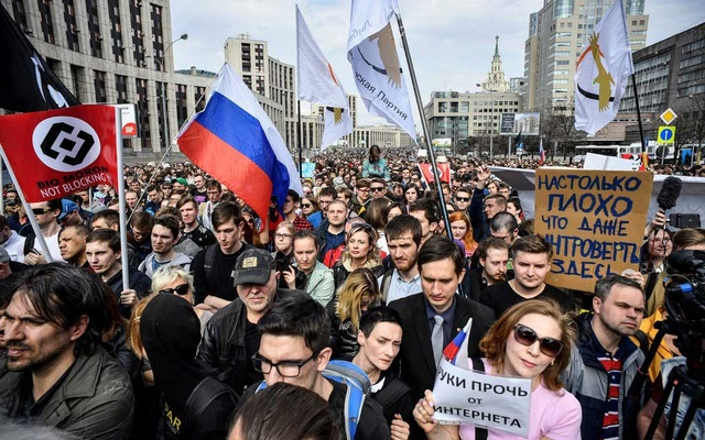 A rally demanding internet freedom in Moscow in April last year. The New York Times