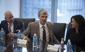 FILE -- Alphabet CEO Larry Page speaks during a meeting of tech industry heads at President-elect Donald Trump's offices at Trump Tower in Manhattan, Dec. 14, 2016. Page and Sergey Brin, who founded Google more than two decades ago, said on Dec. 3, 2019, that they were stepping down from executive roles at Google's parent company, Alphabet. Sundar Pichai, Google's chief executive, will become the chief of both Google and Alphabet. (Kevin Hagen/The New York Times)