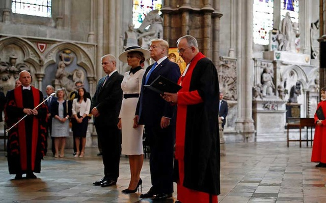 From left to right: Prince Andrew, First Lady Melania Trump, President Donald Trump, and Dean of Westminster John Hall at Westminster Abbey, London, on June 3, 2019. Reuters
