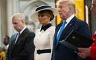 FILE -- From left, Prince Andrew, first lady Melania Trump and President Donald Trump at Westminster Abbey in London on Monday, June 3, 2019. Speaking to reporters in London on Tuesday, Dec. 3, 2019, Trump denied knowing the prince, despite having been photographed with him on several occasions. (Doug Mills/The New York Times)