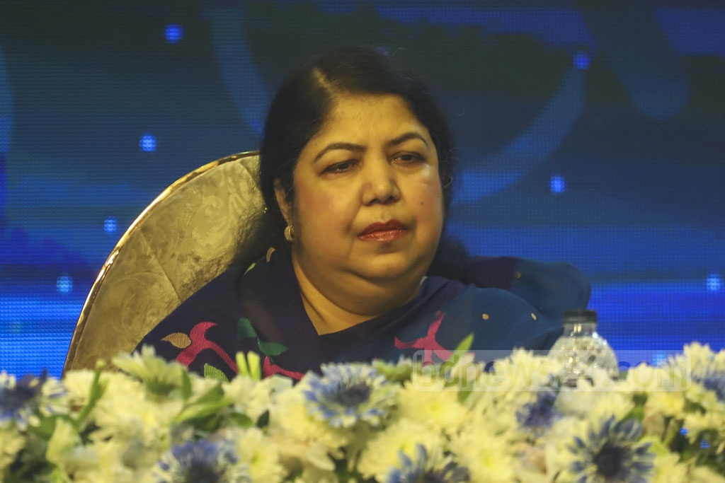 Speaker Shirin Sharmin Chaudhury attends the inaugural ceremony of Bangladesh Social Security Conference and Knowledge Fair 2019 organised by the Cabinet Division at Bangabandhu Sheikh Mujibur Rahman Novo Theatre in Dhaka on Wednesday. Photo: Asif Mahmud Ove
