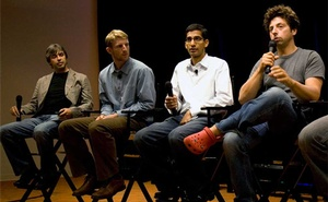 File Photo: Google's co-founders Larry Page (L) and Sergey Brin (R), Brian Rakowski (2nd L), and Sundar Pichai (2nd R) during a conference introducing Google Chrome. Reuters