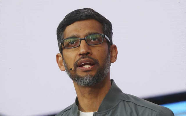 Sundar Pichai, the chief executive of Google, speaks at the Google I/O conference at the Shoreline Amphitheatre in Mountain View, Calif., May 7, 2019. (Jim Wilson/The New York Times)