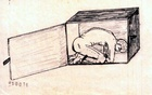 An image drawn by Abu Zubaydah, a prisoner at Guantánamo Bay, depicts how he says the CIA applied an approved torture technique where the prisoner's captor tightly winding a towel around his neck as he smashes the back of his head against what Zubaydah recalled was a wooden wall covering a cement wall. Sketches drawn in captivity by the first prisoner known to undergo 'enhanced interrogation' portray his account of what happened to him in vivid and disturbing ways. The New York Times