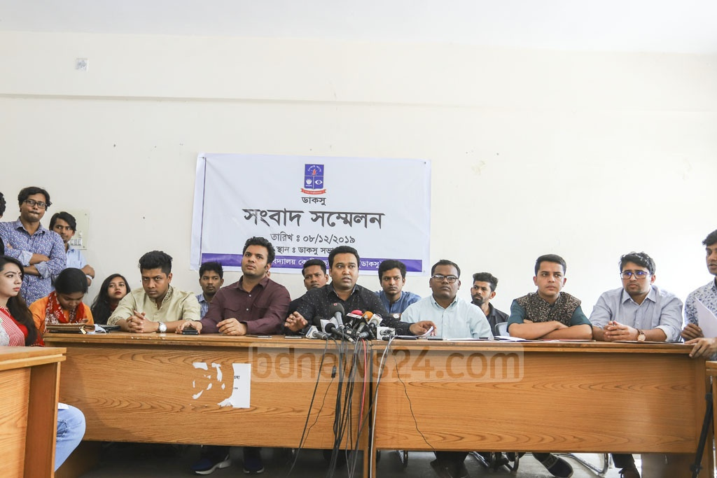 "Dhaka University Central Students' Union General Secretary Golam Rabbani asked its Vice President Nurul Haque Nur accusing him of ""tender corruption"" at a media briefing held at the DUCSU office building on Sunday. Photo: Asif Mahmud Ove"