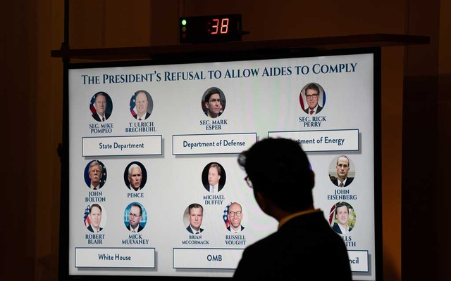 A graphic of aides to President Donald Trump who have refused to testify in the impeachment inquiry is displayed during a House Judiciary Committee hearing about the constitutional standards for the impeachment of the president, on Capitol Hill in Washington, Wednesday, Dec. 4, 2019. Senators, temporarily relegated to the sidelines as the House begins impeachment proceedings against Trump, lament inaction as legislation languishes. (Erin Schaff/The New York Times)