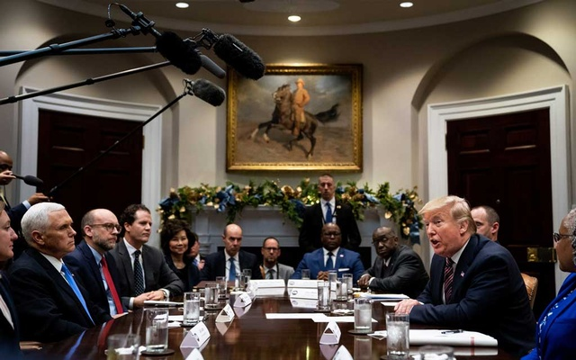 President Donald Trump speaks during a small business roundtable meeting in the Roosevelt Room of the White House in Washington on Friday, Dec. 6, 2019. Trump discussed water efficiency standards during the White House meeting about small businesses and reducing red tape. (Erin Schaff/The New York Times)