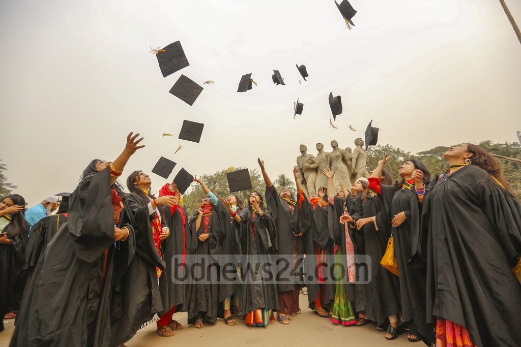 Dhaka University students wearing graduation gowns celebrate the convocation day. The university held its 52nd convocation on Monday. Photo: Mahmud Zaman Ovi