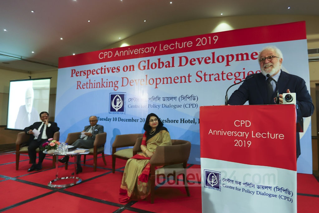 Mario Pezzini, director at the OECD Development Centre, speaking at the CPD Anniversary Lecture 2019 - Perspectives on Global Development: Rethinking Development Strategies - organised by the Centre for Policy Dialogue at a Dhaka hotel on Tuesday. Photo: Asif Mahmud Ove