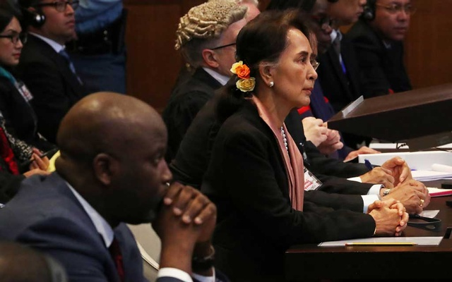 Gambia's Justice Minister Abubacarr Tambadou and Myanmar's leader Aung San Suu Kyi attend a hearing in a case filed by Gambia against Myanmar alleging genocide against the minority Muslim Rohingya population, at the International Court of Justice (ICJ) in The Hague, Netherlands Dec 10, 2019. REUTERS