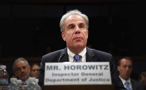 Justice Department Inspector General Michael Horowitz testifies on Capitol Hill on June 18, 2018. The New York Times