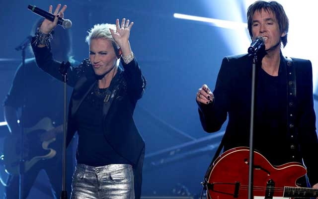 FILE PHOTO: Marie Fredriksson (L) and Per Gessle of Swedish pop duo Roxette perform during the German game show