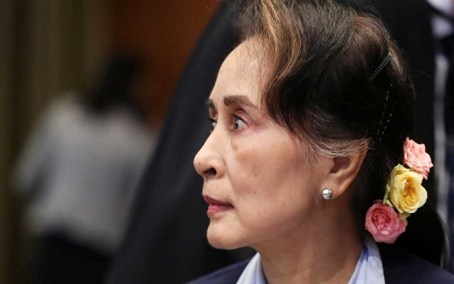 Myanmar's leader Aung San Suu Kyi attends a hearing on the second day of hearings in a case filed by Gambia against Myanmar alleging genocide against the minority Muslim Rohingya population, at the International Court of Justice (ICJ) in The Hague, Netherlands Dec 11, 2019. REUTERS