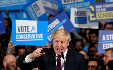 Britain's Prime Minister Boris Johnson speaks at a general election campaign event at the Globus Group warehouse in Manchester, Britain, December 10, 2019. REUTERS