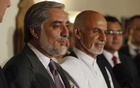 Afghanistan's presidential candidate Abdullah Abdullah (L) addresses a news conference with rival Ashraf Ghani (R) at this side as they announced a deal for the auditing of all Afghan election votes at the United Nations Compound in Kabul, late Jul 12, 2014. REUTERS
