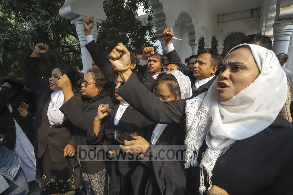 Pro-BNP lawyers demonstrated at the Supreme Court premises on Thursday during the hearing of an appeal by Khaleda Zia for bail.