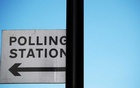 A polling station sign is seen ahead of the forthcoming general election in London, Britain, December 11, 2019. REUTERS