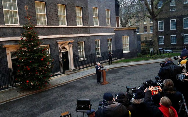 Britain's Prime Minister Boris Johnson delivers a statement at Downing Street after winning the general election, in London, Britain, December 13, 2019. Reuters