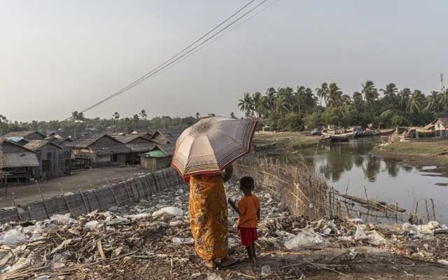 Garbage is piled up at a camp for Rohingya Muslims in Sittwe, the capital of Rakhine State, Myanmar, on May 28, 2019. The New York Times