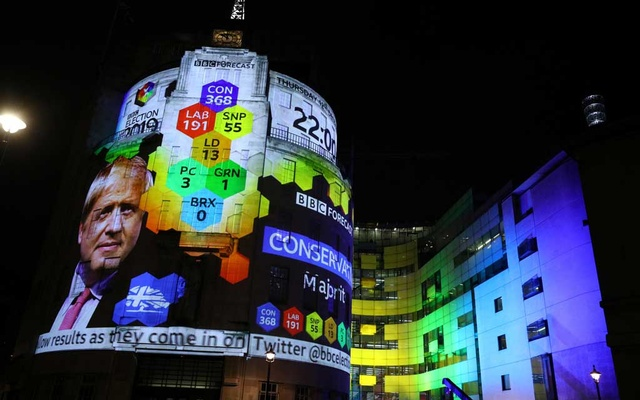 BBC Television Centre is illuminated with the results forecast for Britain's general election in London, Britain, December 12, 2019. Reuters