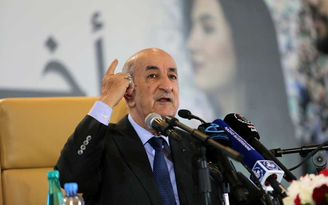 Newly elected president Abdelmadjid Tebboune talks to the press during a news conference, in Algiers, Algeria Dec 13, 2019. REUTERS