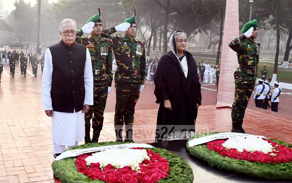 President Md Abdul Hamid and Prime Minister Sheikh Hasina pay tribute to martyred intellectuals at the Martyred Intellectuals Memorial at Mirpur in Dhaka on Saturday.