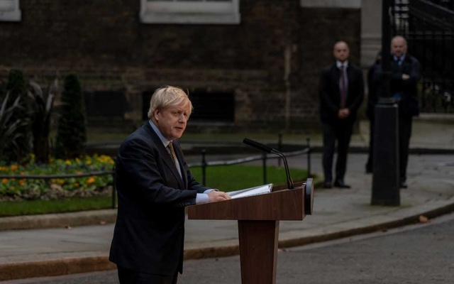 Prime Minister Boris Johnson of Britain speaks outside 10 Downing Street in London on Friday, Dec 13, 2019, following his Conservative Party's general election victory. The New York Times