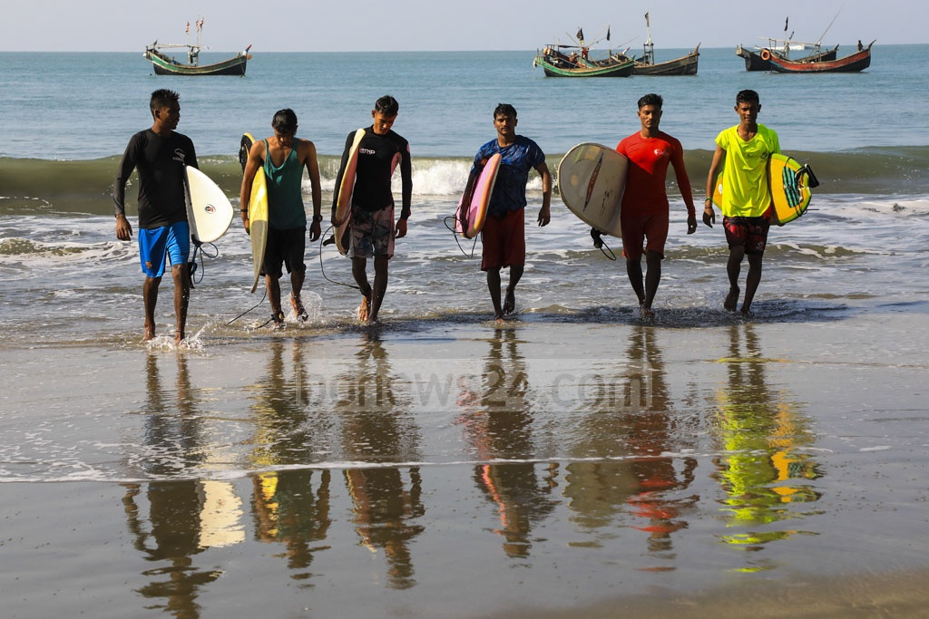 A group of surfers at St Martin's Island.